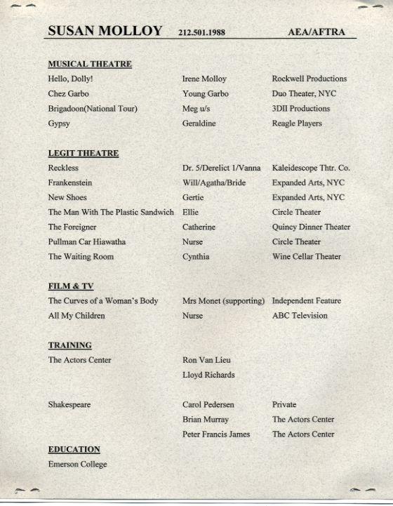 complete resume for waitressing job